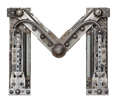 Industrial metal alphabet letter M photo