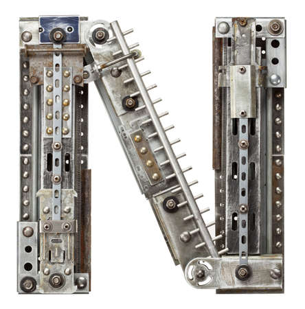 vintage: Industriële metalen alfabet letter N