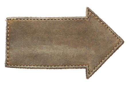 Arrow shape leather label, isolated Stock Photo - 16235993