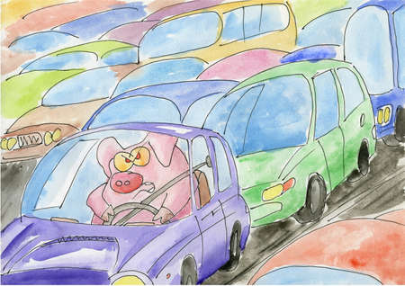 slowdown: Pig stuck in a traffic jam. Painted on paper. Stock Photo