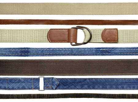 Textile, leather, denim belts and straps. photo