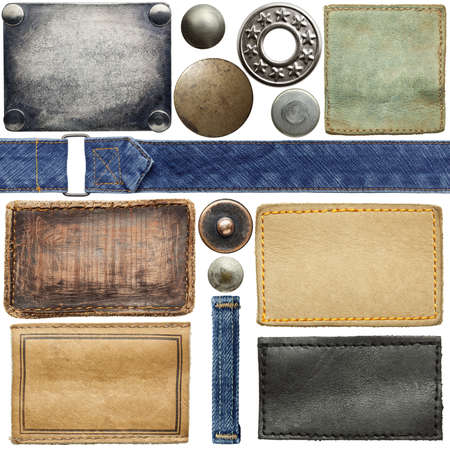 Blank leather jeans labels, buttons, rivets. Stock Photo - 16236008