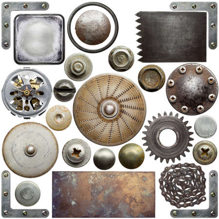 metal textures: Screw heads, textures and other metal details Stock Photo