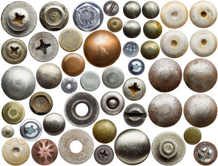 rivet: Screw heads, nuts, rivets and other metal details.