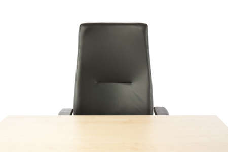 empty chair: Empty top of the table and leather office chair  Stock Photo