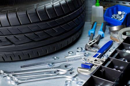 Auto repairing workshop  Tools on metal table Stock Photo - 16406896