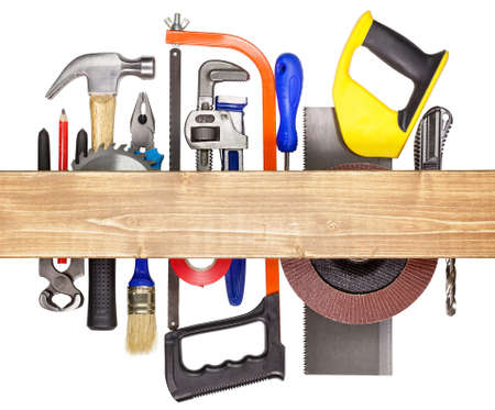 hardware tools: Carpentry, construction hardware tools underneath the wood plank