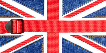 Great Britain, UK flag made of red belt and blue jeans Stock Photo - 16406901