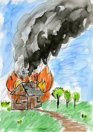 Burning house. Watercolor, ink on paper. photo