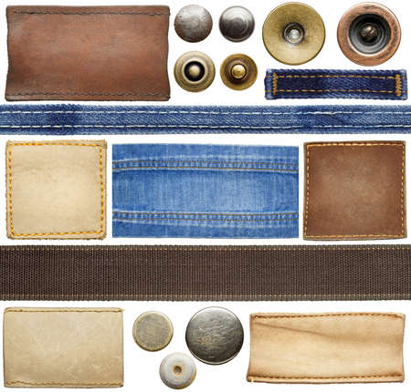 leather stitch: Blank leather jeans labels, buttons, straps isolated on white background