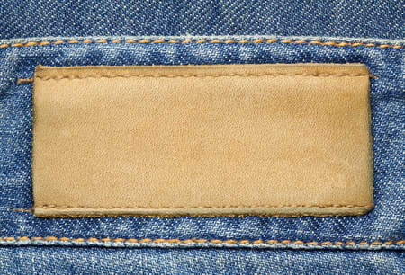 Leather jeans label sewed on jeans Stock Photo - 17095671