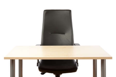 office appliances: Empty top of the table and leather office chair  Stock Photo