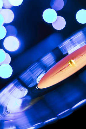 Spinning vinyl record  Motion blur image  photo
