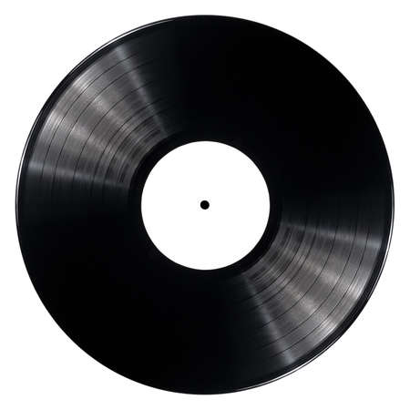 Black vinyl record isolated on white background photo