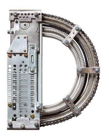 industriale: Industriale metallo alfabeto lettera D