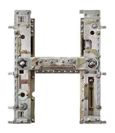 sign h: Industrial metal alphabet letter H