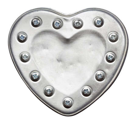 Heart shape metal plate, isolated Stock Photo - 17095599