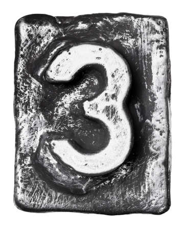 Metal alloy alphabet number 3 photo
