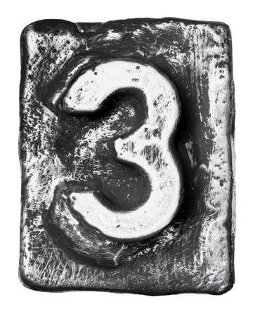 Metal alloy alphabet number 3 Stock Photo - 17354129