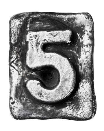 number 5: Metal alloy alphabet number 5