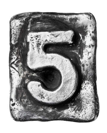Metal alloy alphabet number 5 Stock Photo - 17354141