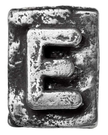 Metal alloy alphabet letter E photo
