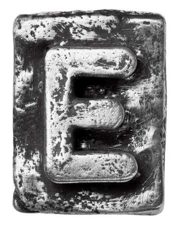 letter blocks: Metal alloy alphabet letter E