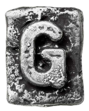 chrome alphabet: Metal alloy alphabet letter G