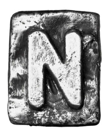 Metal alloy alphabet letter N photo