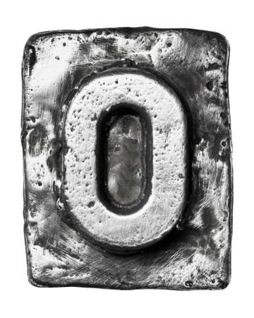 typeset: Metal alloy alphabet letter O