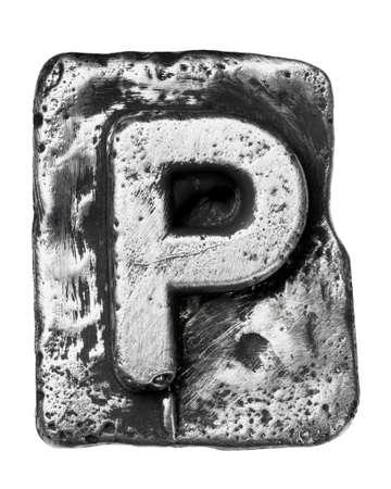 typeset: Metal alloy alphabet letter P Stock Photo