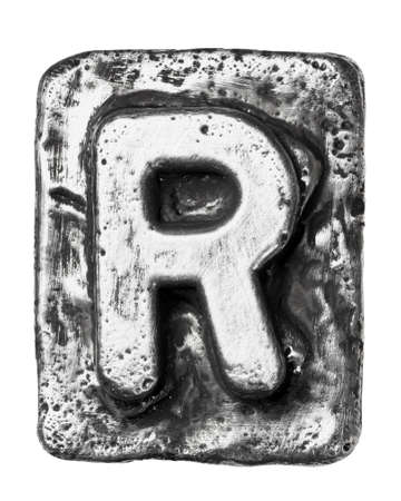 Metal alloy alphabet letter R photo