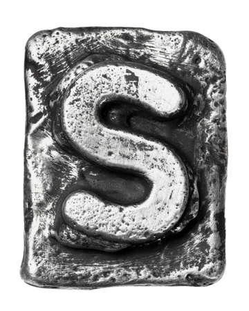 Metal alloy alphabet letter S photo