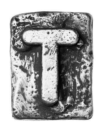 rusty metal: Metal alloy alphabet letter T