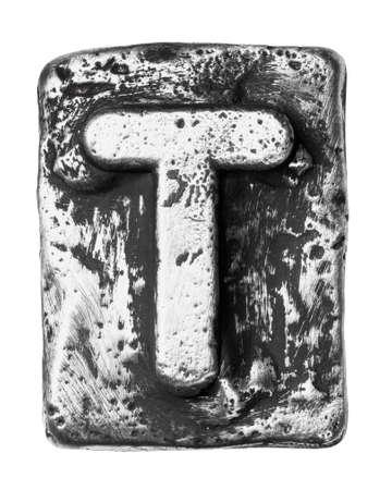 chrome alphabet: Metal alloy alphabet letter T