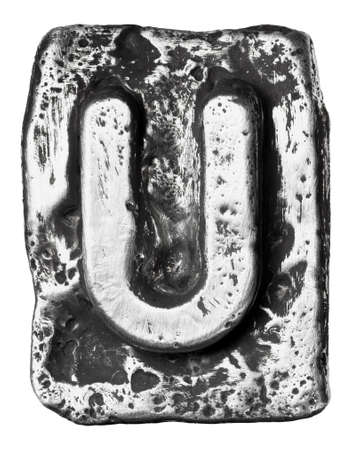 Metal alloy alphabet letter U photo