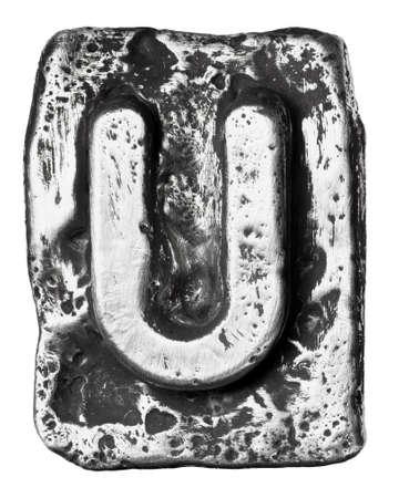 chrome alphabet: Metal alloy alphabet letter U