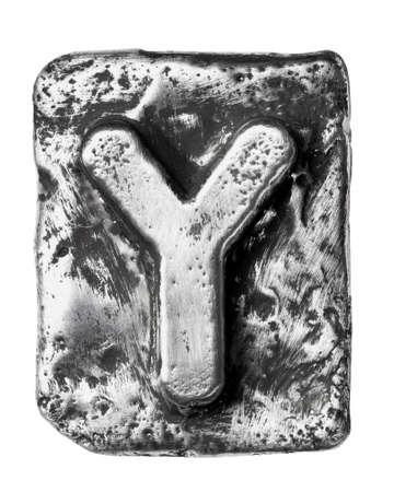 chrome alphabet: Metal alloy alphabet letter Y