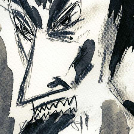 daemon: Satan face painted on paper