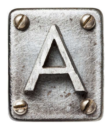 shiny metal background: Old metal alphabet letter A
