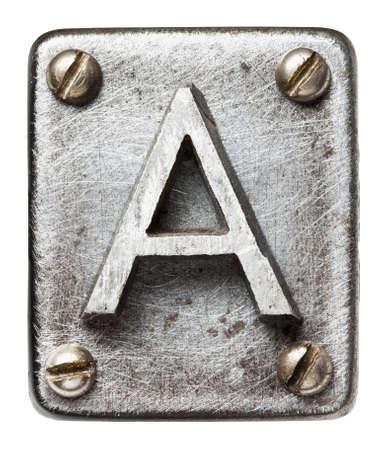 tornillos: Old metal letra del alfabeto A Foto de archivo