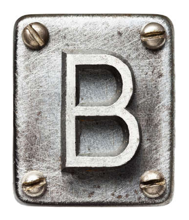 metal sign: Old metal alphabet letter B Stock Photo