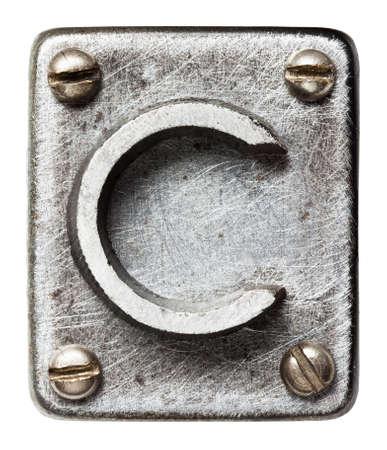 old letters: Old metal alphabet letter C