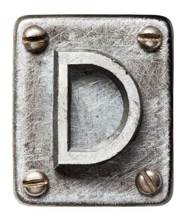 metal sign: Old metal alphabet letter D