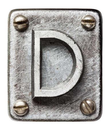 a d: Old metal alphabet letter D