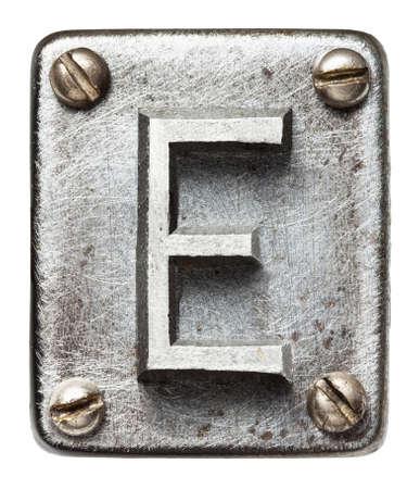 Metal velho alfabeto letra E