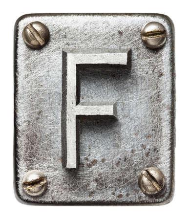 shiny metal: Old metal alphabet letter F
