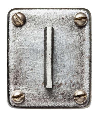 shiny metal: Old metal alphabet letter I Stock Photo