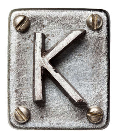 cartas antiguas: Alfabeto antiguo del metal letra K