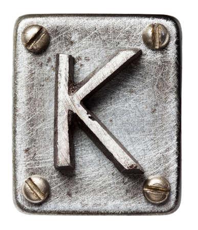 shiny metal: Old metal alphabet letter K Stock Photo